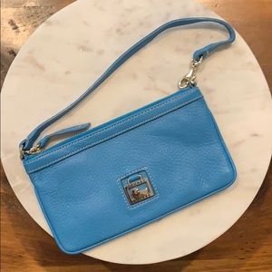 Dooney and Bourke Blue Leather Wristlet